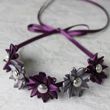 eggplant ribbon adjustable headband ribbon tie headband flower bun wrap silver