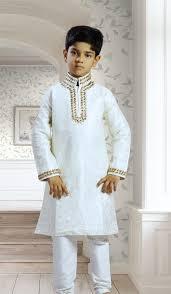 off white art dupion stylish indian kids kurta pajama