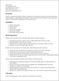 Resume Examples For Hospitality by Professional Bar Supervisor Templates To Showcase Your Talent