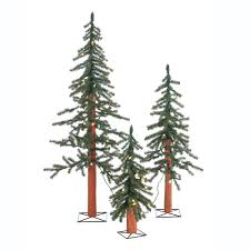 3 pre lit artificial alpine tree set