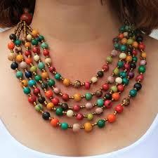 orange beads necklace images Multistrand necklace set JPG
