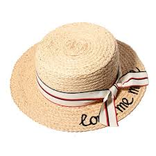 raffia bows women summer straw hats letter me more embroidery flat sun