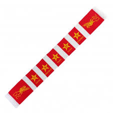 lfc red and white bar scarf liverpool fc official store