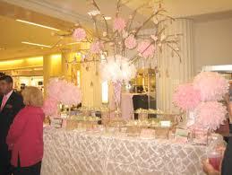 Centerpiece With Feathers by A Centerpiece Of Pink Feathers Flowers And Crystals Kept The