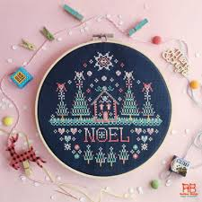 9 christmas themed cross stitch patterns