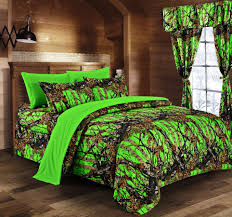 Camo Bedroom The Woods Bio Hazard Green Camouflage Twin 5pc Premium Luxury