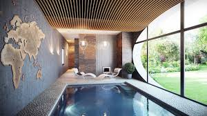 small indoor swimming pool layout with unique wall art and modern
