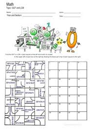 gcf and lcm fun puzzle worksheet activity by math guru and little guru