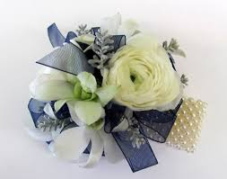 Cheap Corsages For Prom Wrist Corsage For Homecoming For Black Dress White And Blue