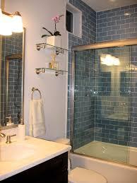 glass subway tile bathroom ideas sky blue glass subway tile shower how high the tile goes