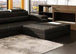 mini sectional sofa in black bonded leather by vig