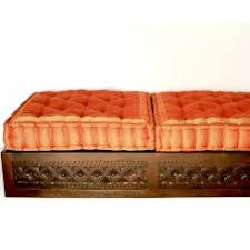 Wooden Ottomans Indian Style Wooden Ottoman Furniture Carved With Cushion
