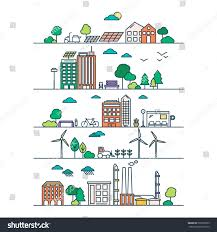 Green Home Designs by Eco City Linear Style Solar Panels Stock Vector 599708765