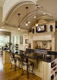 stunning kitchen ivory glazed cabinetry and unique design