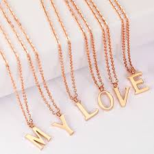charm necklace letter images Fashion rose gold initial letter pendant charm necklace chain jpg
