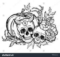halloween vector illustration skull leavespeony pumpkin stock