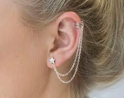 cuff earrings with chain fashion ear cuff etsy
