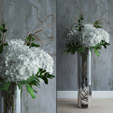 white hydrangeas white hydrangeas in vase with willow branches 3d model max