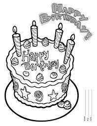 happy birthday cake with four candles coloring page happy
