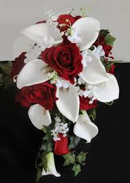 Cascading Bouquet Red Roses U0026 Off White Calla Lilies Cascading Bouquet