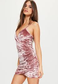 pink dress pink crushed velvet wrap strappy dress missguided