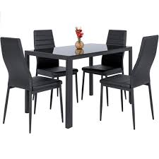 best choice products 5 piece kitchen dining table set w glass top and best choice products 5 piece kitchen dining table set w glass top and 4 leather