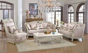 traditional sofa set antique white exposed wood w elaborate carvings
