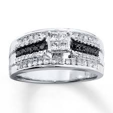 kays black engagement rings black white diamonds 1 2 carat tw 10k white gold ring