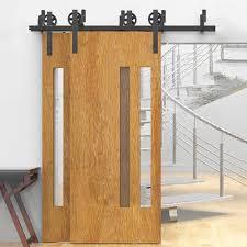 double track barn door hardware winsoon 5 16ft bypass sliding barn door hardware double track kit