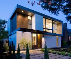stucco bungalow exterior modern with recessed lighting black