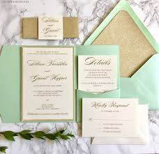 mint wedding invitations mint and gold glitter pocket wedding invitations with glitter