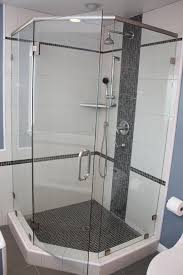 Angled Shower Doors Framelss Neo Angle Shower Door Installed With Square Satin Nickel