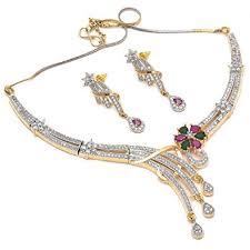 color diamond necklace images Buy geode delight american diamond cz color stone necklace set jpg