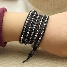black leather crystal bracelet images Women bracelet 4 mm round crystal bracelet long leather bracelet jpg