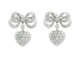 diamond earrings uk earrings london w1 bow heart diamond earrings