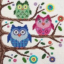 canoodles owls needlepoint kit