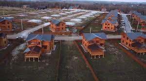 aerial view modern cottage village stock video footage videoblocks