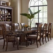 9 pc dining room set kincaid furniture portolone nine piece trestle table and harp back