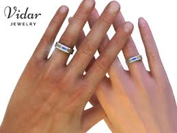 wedding band sets his and hers princess cut blue sapphire matching wedding bands vidar jewelry