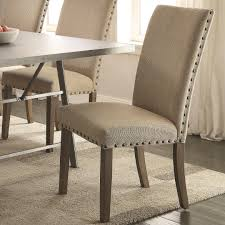 Set Of Two Dining Chairs 2 Amherst Casual Parson Chairs Tan Upholstery Nailhead Trim