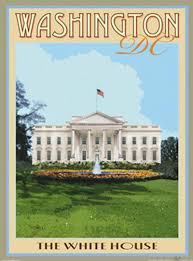 the white house washington dc vintage art deco style travel poster