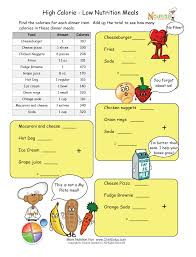 high calorie low nutrition meal math worksheet please make sure