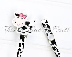 cow print ribbon cow feltie cow print ribbon baby pacifier clip teething ring clip