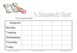 printable homework incentive charts homework chart and other tools to get homework done