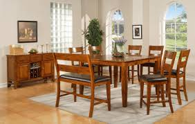 Mission Style Dining Room Set by Square Brown Wooden Table With Brown Wooden Chairs And Bench