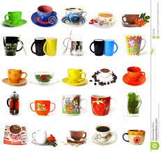 big collection of tea mugs and coffee cups royalty free stock