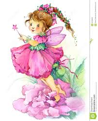 flower fairy watercolor drawing stock illustration image 55226836