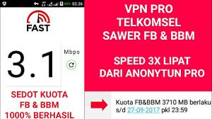 setting anonytun pro dengan kuota fb dan bbm vpn pro telkomsel fb dan bbm youtube