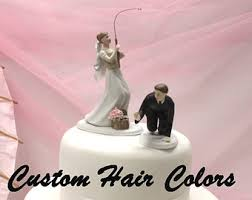 large bass wedding cake topper fishing themed bride and groom
