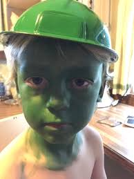 Green Army Man Halloween Costume Cover Entire Face Bright Green Paint